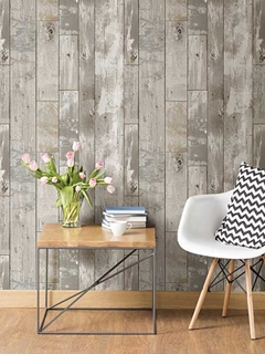 give any space a living, organic feel with the authentic look of wood wallpaper