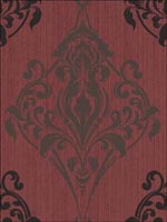 Gothic Medallion Black Gray on Red Wallpaper SM60701 by Collins and Company Wallpaper for sale at Wallpapers To Go