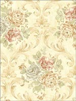 Floral Leaf Scroll Wallpaper SE51604 by Seabrook Wallpaper for sale at Wallpapers To Go