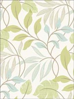 Eden Green Modern Leaf Trail Wallpaper 253520627 by Beacon House Interiors Wallpaper for sale at Wallpapers To Go