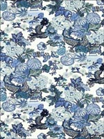 Chiang Mai Dragon China Blue Fabric 173272 by Schumacher Wallpaper for sale at Wallpapers To Go