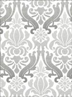 Grey Nouveau Damask Peel And Stick Wallpaper NU1827 by Brewster Wallpaper for sale at Wallpapers To Go