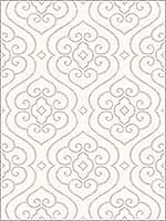 Scroll Design Metallics Damask Textured Wallpaper SH70008 by Seabrook Platinum Series Wallpaper for sale at Wallpapers To Go