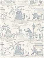 Bassano Embroidered Toile Delft Fabric 66600 by Schumacher Fabrics for sale at Wallpapers To Go