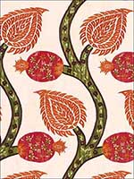 Nurata Embroidery Coral Fabric 174180 by Schumacher Fabrics for sale at Wallpapers To Go