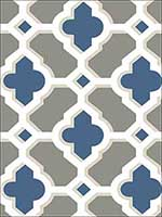 Lido Navy Quatrefoil Wallpaper 274424125 by A Street Prints Wallpaper for sale at Wallpapers To Go