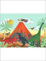Dinosaur 3 Panel Mural FA42800M by Seabrook Wallpaper for sale at Wallpapers To Go