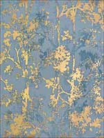 Shimmering Foliage Blue Gold Wallpaper NW3581 by Antonina Vella Wallpaper for sale at Wallpapers To Go