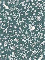 Fox and Hare Weekends Teal Wallpaper ME1574 by York Wallpaper for sale at Wallpapers To Go