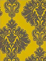 Symphony Damask Dark Brown and Mustard Wallpaper SD102 by Astek Wallpaper for sale at Wallpapers To Go