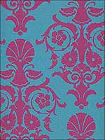 Modern Damask Teal and Fuschia Wallpaper SD106 by Astek Wallpaper for sale at Wallpapers To Go
