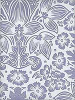 Polynesian Floral Damask Lilic and White Wallpaper SD114 by Astek Wallpaper for sale at Wallpapers To Go