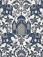 Elephant Taj Mahal Blue Gold White Wallpaper G67362 by Galerie Wallpaper for sale at Wallpapers To Go