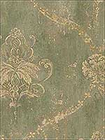 Regal Damask Greens Beige Tan Wallpaper CH22568 by Patton Norwall Wallpaper for sale at Wallpapers To Go