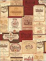 Wine Labels Red Ochre Wallpaper KK26754 by Patton Norwall Wallpaper for sale at Wallpapers To Go