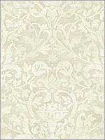 Damask Leaf Scroll Fleur de lis Tan and White Wallpaper 1621107 by Seabrook Wallpaper for sale at Wallpapers To Go