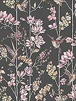 Charm Charcoal Dusky Pink Wallpaper 12393 by Sancar Wallpaper for sale at Wallpapers To Go