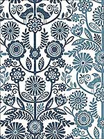 Lovebirds Navy Folk Stripe Wallpaper 282125106 by A Street Prints Wallpaper for sale at Wallpapers To Go