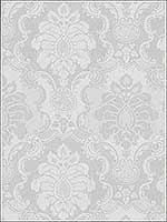 Juliet Light Grey Damask Wallpaper 2836802443 by Advantage Wallpaper for sale at Wallpapers To Go