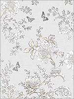 Butterfly Toile Grey Beige Dove Wallpaper FH37538 by Patton Norwall Wallpaper for sale at Wallpapers To Go