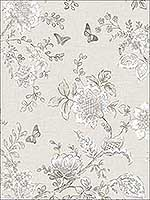 Butterfly Toile Taupe Grey Mushroom Wallpaper FH37541 by Patton Norwall Wallpaper for sale at Wallpapers To Go