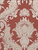 Cream Velvet Damask On Brick Wallpaper VC0808 by Astek Wallpaper for sale at Wallpapers To Go
