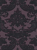Black Velvet Damask On Purple Wallpaper VC0819 by Astek Wallpaper for sale at Wallpapers To Go