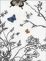 Birds and Butterflies Multi on White Wallpaper 2704420 by Schumacher Wallpaper for sale at Wallpapers To Go