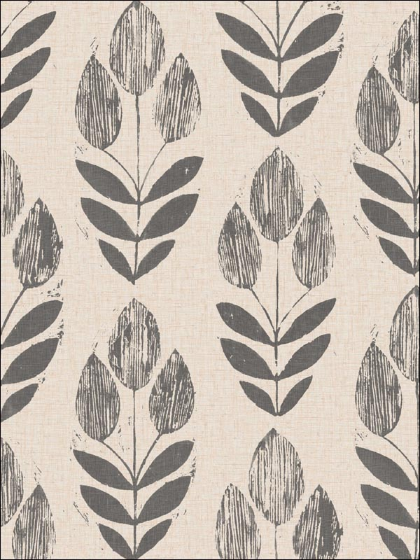 Scandinavian Black Block Print Tulip Wallpaper 253520651 by Beacon House Interiors Wallpaper for sale at Wallpapers To Go