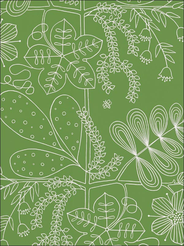 Blommen Leaf Wallpaper 5007492 by Schumacher Wallpaper for sale at Wallpapers To Go