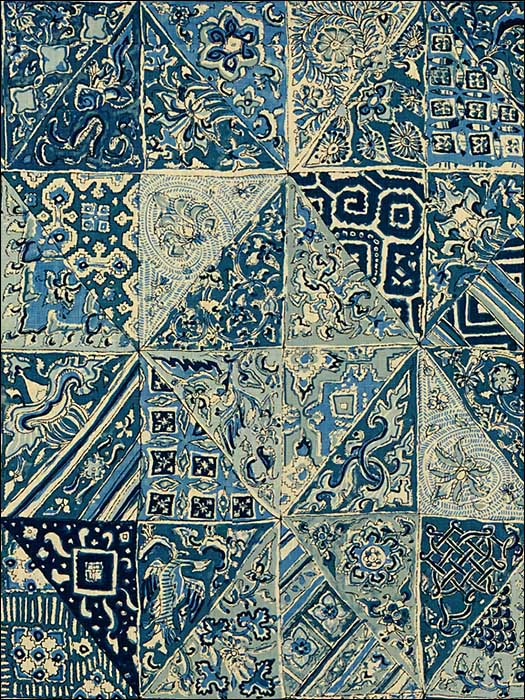 Indian Blocks Blues Multipurpose Fabric 2013139515 by Lee Jofa Fabrics for sale at Wallpapers To Go