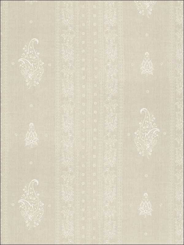 Jaipur Linen Embroidery Flax Fabric 65800 by Schumacher Fabrics for sale at Wallpapers To Go