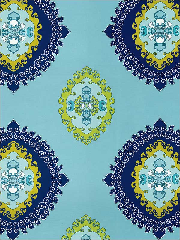 Super Paradise Print Pool Fabric 174320 by Schumacher Fabrics for sale at Wallpapers To Go