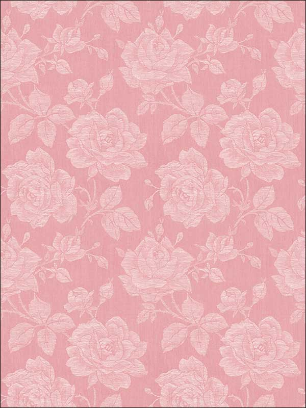 Garden Rose Coral Wallpaper FS51211 by Wallquest Wallpaper for sale at Wallpapers To Go