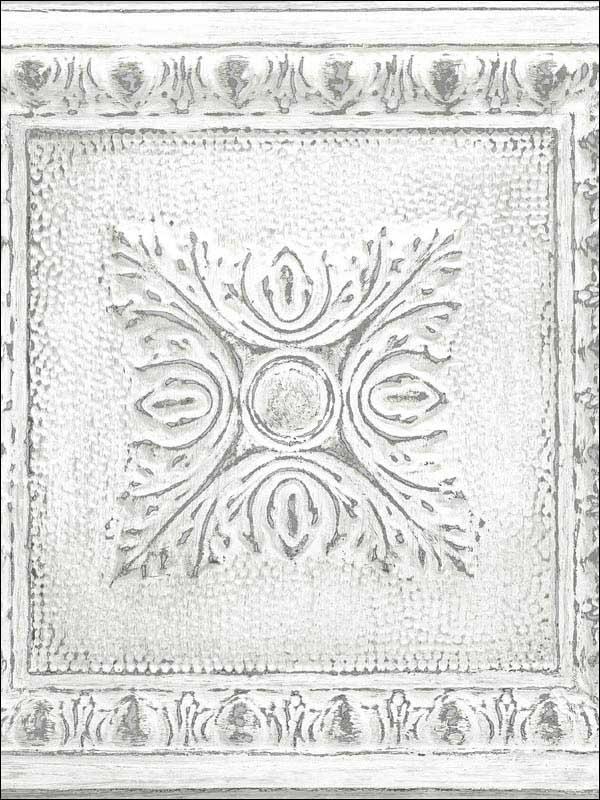 White /& Off-White NuWallpaper NU2495 Reclaimed Tin Peel /& Stick Wallpaper