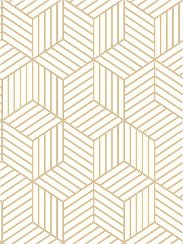 Stripped Hexagon White Gold Peel And Stick Wallpaper Rmk10704wp By York Wallpaper