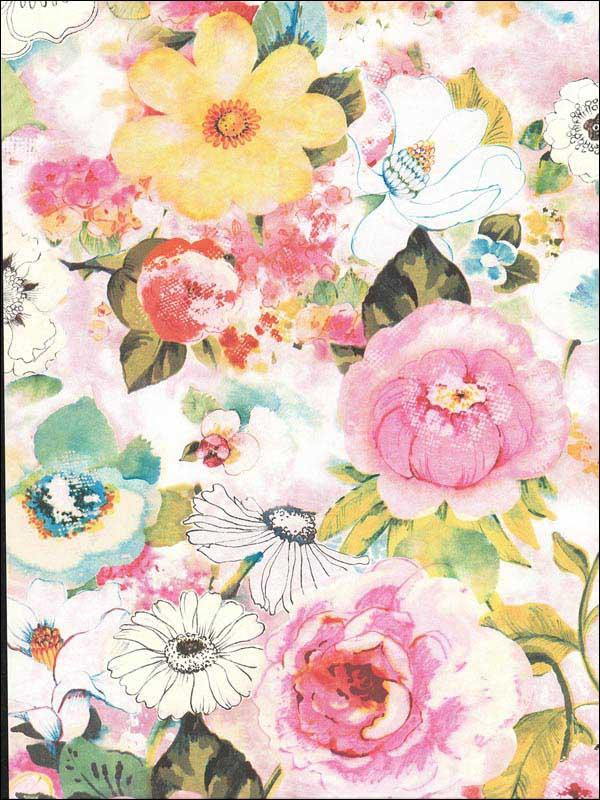 Baldwin Multicolor Watercolor Floral Wallpaper Wtg 214482