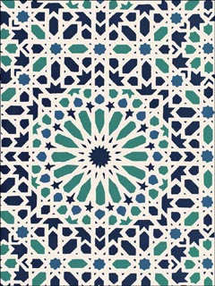Nasrid Palace Mosaic Aegean Wallpaper 5005960 by Schumacher Wallpaper for sale at Wallpapers To Go