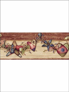 Red Homespun Swag Border BBC44572B by Chesapeake Wallpaper for sale at Wallpapers To Go