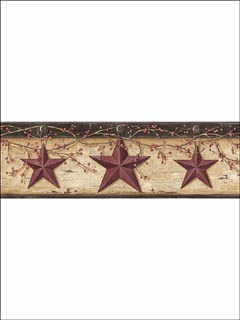 Red Rustic Barn Star Border BBC44603B by Chesapeake Wallpaper for sale at Wallpapers To Go