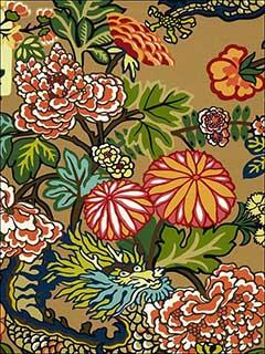 Chiang Mai Dragon Mocha Fabric 173274 By Schumacher Fabrics