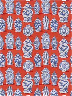Canton Persimmon Blue Fabric 4694603 by Stroheim Fabrics for sale at Wallpapers To Go