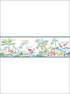 Lagoon Teal Watercolor Border 311312222B by Chesapeake Wallpaper for sale at Wallpapers To Go
