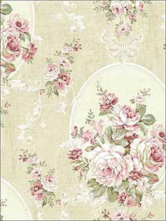 Swinging Cameo Antique Red Wallpaper HK90401 by Wallquest Wallpaper for sale at Wallpapers To Go