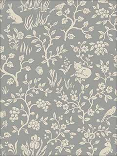Fox and Hare Grey Wallpaper ME1571 by York Wallpaper for sale at Wallpapers To Go