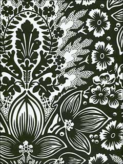Polynesian Floral Damask White and Black Wallpaper SD115 by Astek Wallpaper for sale at Wallpapers To Go
