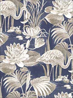 Miltonia Navy Flamingo Wallpaper 276624622 by Brewster Wallpaper for sale at Wallpapers To Go