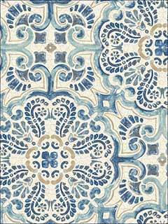 Blue Florentine Tile Peel and Stick Wallpaper NU2235 by Brewster Wallpaper for sale at Wallpapers To Go
