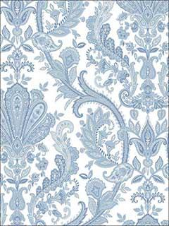 Patton Norwall Md29431 Jacobean Paisley Dark Blue Light Blue Pearl White Wallpaper