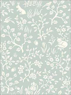 Fox and Hare Green Wallpaper MK1111 by Magnolia Home Wallpaper for sale at Wallpapers To Go